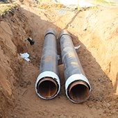 water pipes in a trench