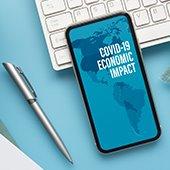 covid-19 economic impact message on smartphone screen
