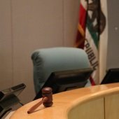 gavel on city council dais in council chambers