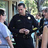 Chief Dave Bertini talks to residents