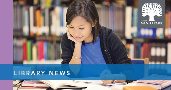 """asian woman studies in the library, text reads """"library news"""""""