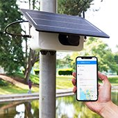 Clarity Node air quality sensor installed on a pole