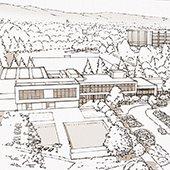 3-d rendering of menlo park community campus project