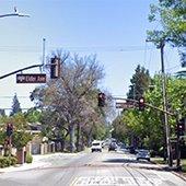 Eastbound Santa Cruz Avenue at Elder Avenue near Hillview School