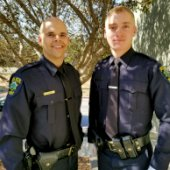 Menlo Park welcomes police academy graduates, Grieves and Hodges