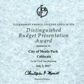 City receives Distinguished Budget Presentation Award