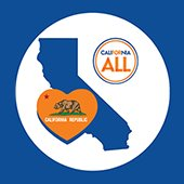 California for All logo with California state outline and bear on heart shape