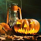 jack-o-lantern and lantern