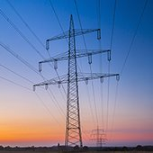 high voltage power lines near the horizon