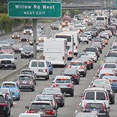 Southbound US Highway 101 congested lanes filled with vehicles