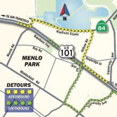 Overnight closures of Willow Road and U.S. 101