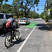Teen riding in bike lane - Oak Grove bike improvements project