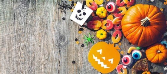 Halloween collage of pumpkins and candy