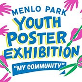Menlo-Park-Youth-Poster-Exhibition-graphic-depicting-many-hands-painting-drawing-cutting