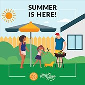 Keep it golden california--summer is here--illustration of family barbecue