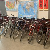 M-A On the Move program bicycles lined up