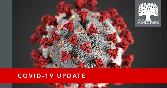 COVID-19 Update with CDC illustration of coronavirus and city logo