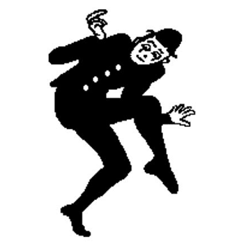Cartoon illustration of sneaking figure