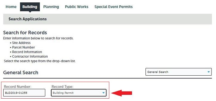 Inspection Scheduling: Record Search