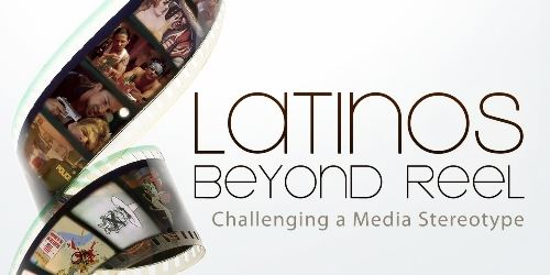 Unspooled length of film, each frame showing a stereotypical portrayal of Latinos from cinema