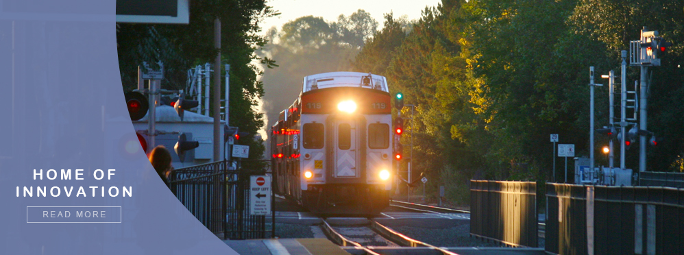 Home of innovation - Caltrain locomotive approaches Menlo Park station