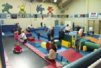 Children in a gymnastics class.