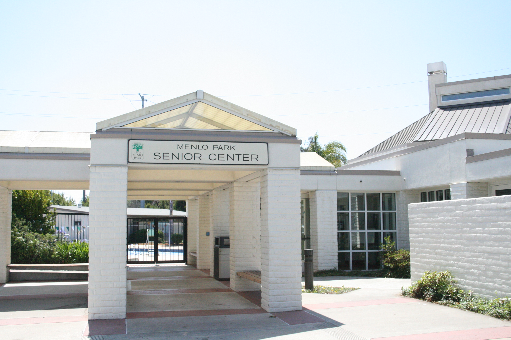 Exterior photo of the front of Menlo Park Senior Center.