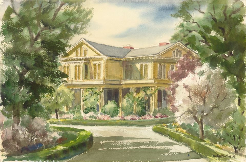 Rachel Bentley Watercolor: Faxon Dean Atherton Home