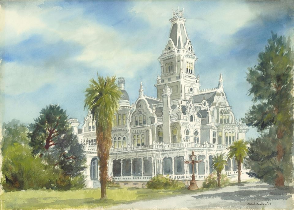 Rachel Bentley Watercolor: Linden Towers Flood Mansion