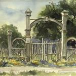 Rachel Bentley Watercolor: Menlo Park Gates